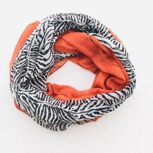 Orange Zebra Print Infinity Scarf